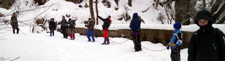 Postup sněhem na laně